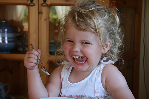 Baby Elin eating ice cream and flirting with the camera.