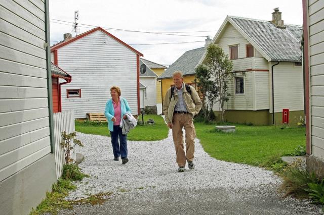 """Karen and Ansgar walking the """"streets"""" at Ona."""